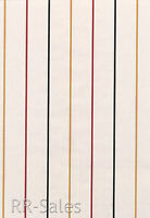 White With Thin Yellow Black Red Stripes Boys Mens Sports Double Roll Wallpaper