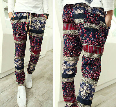 Mens Vintage Exotic Pattern Boho Stretch Waist Slim Casual Holiday Linen Pants