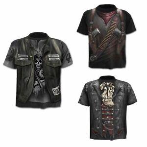 Fashion-Men-039-s-Funny-Skull-3D-Print-T-Shirt-Casual-Short-Sleeve-Tops-Male-Tee