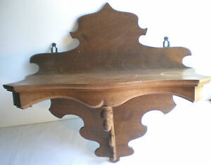 ancienne console murale en bois d coup tag re en noyer fronton et tablette ebay. Black Bedroom Furniture Sets. Home Design Ideas