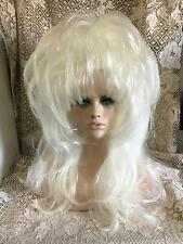 SIN CITY WIGS 1 OF A KIND FIERCE TEASED BIG FLUFFY LAYERS BANGS PLATINUM BLONDE!