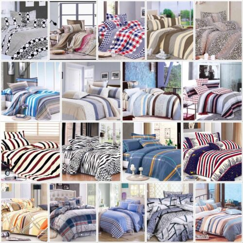 Duvet Cover With Pillow Cases /& Fitted Sheet Cotton Bedding Set Quilt Cover