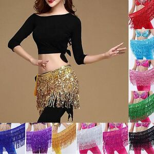 Belly Dance Rectangle Sequin Hip Scarf Festival Club Beach Shining Wrap Skirt