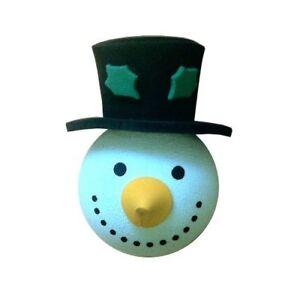 BIANCO-Natale-Pupazzo-di-neve-Cappello-Holly-antenna-auto-Antenna-Topper-a-sfera