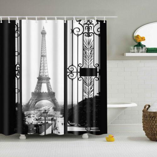 Shower Curtain Eiffel Tower Pattern Waterproof Bathroom Decoration With 12 Hooks