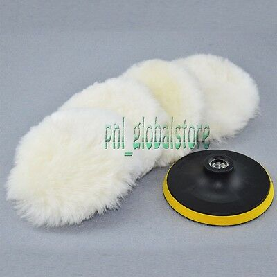 """5PC 6"""" 100% Wool (Heavy Cut) Heavy Cutting and Buffing Pad For Car Polisher"""