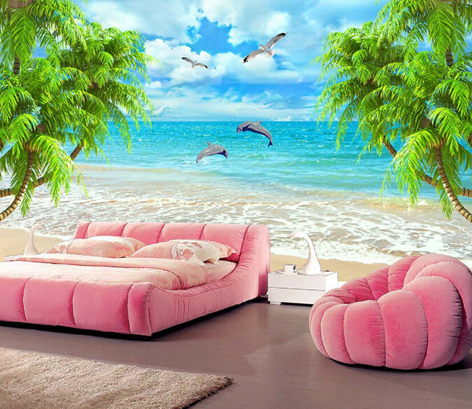 3D Animals Beach 754 Wall Paper Murals Wall Print Wall Wallpaper Mural AU Kyra