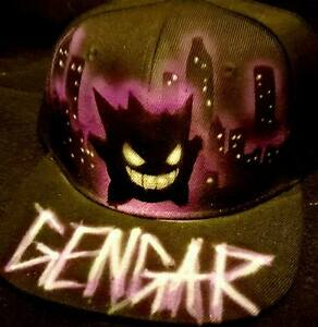 Pokemon Go Custom Airbrush Trucker Hat! Gengar snapback personalized ... 174d226d93e