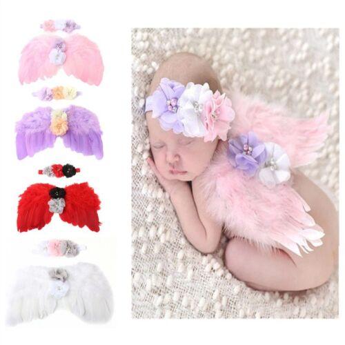 Neugeborene Fotografie Requisiten Kostüm süße Flügel+Stirnband Foto RequisitenWS