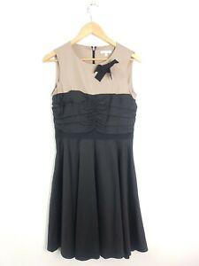 PAULA KA Taupe Black Ruched Fit & Flare Party Evening Dress Women's Sz. 42 ~AU14