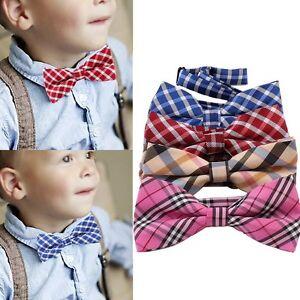 Boys-Children-Kids-Toddler-Infant-Tartan-Bowtie-Pre-Tied-Wedding-Party-Bow-Tie