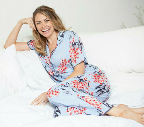 4388//4389 Cyberjammies /'Olivia/' Ladies Womens Pale Blue Floral Pyjama Set