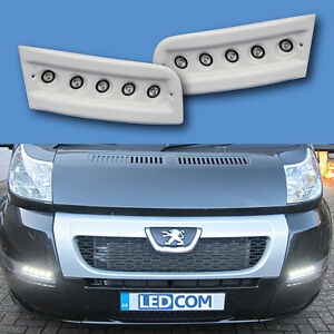 daytime running lights drl led pod kit fiat ducato boxer relay motorhome white ebay. Black Bedroom Furniture Sets. Home Design Ideas