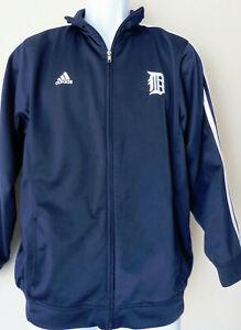 Navy-Blue-ADIDAS-DETROIT-Track-Jacket-90s-Vintage-Medium-Stripes-Full-Zip