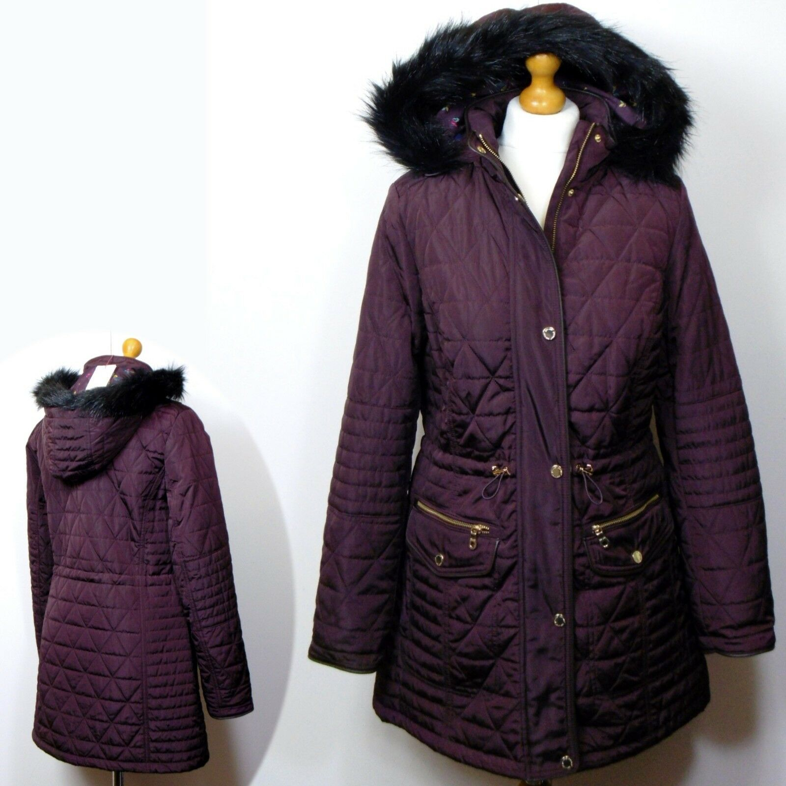 PER UNA Quilted STORMWEAR PARKA Coat with HOOD  Size 10  DAMSON