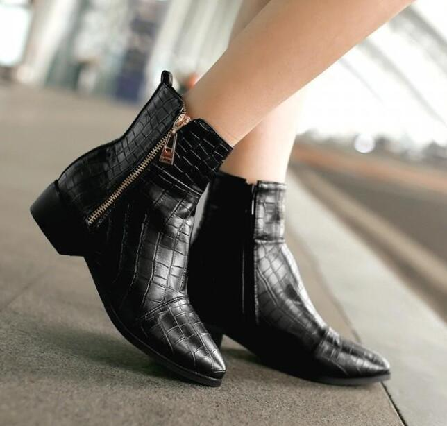 Womens Ankle Boots Pointed toe Flats PU Leather Metal color shoes Side Zip Sz