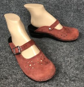 6dc4714e640 DANSKO Red Suede Leather Clogs Slides Mules Mary-Janes Womens 39 US ...