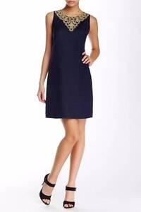 87ff0d0b771 Eliza J Gold Embellished Linen Blend Shift Dress Navy Blue 12  158 ...