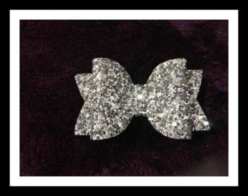 pink,silver,gold,red Girls christmas hair bow Clip//Glitter Hair Bow Handmade
