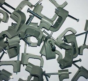 100 x Gris 10mm twin et terre clips plat