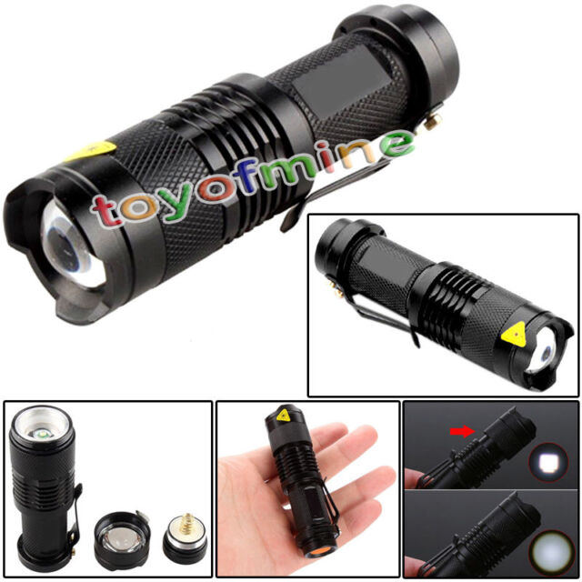 7W 1200lm CREE Q5 LED SA3 Zoomable Mini Flashlight Torch Lamp AA/14500