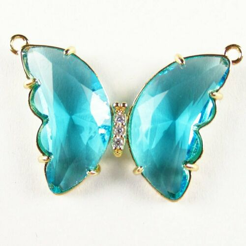 2Pcs Wrapped Faceted Blue Titanium crystal Butterfly Pendant Bead HASJ687