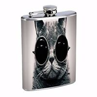 Cat Sunglasses Cool Black White Photography Hip Flask Stainless Steel 8oz Liquor