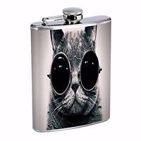Sunglasses Cat Cool Black White Photography Feline 8oz Stainless Steel Flask