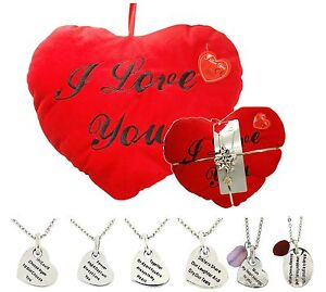 Toc-Love-Pendant-amp-Red-Heart-Cushion-I-Love-You-Valentines-Day-Gift-Set-for-Her