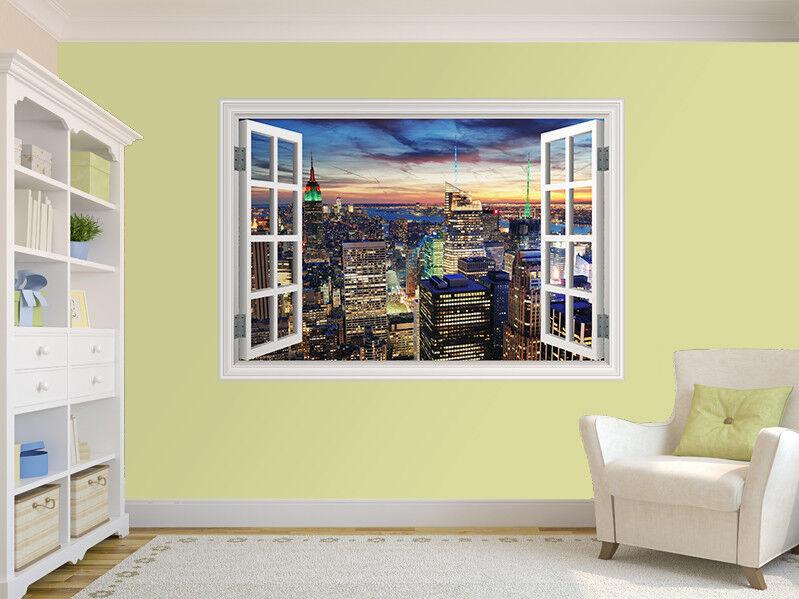 New York City Skyline bei Sonnenuntergang Foto Fenster Wandaufkleber Wandbild (
