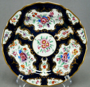 19th-Century-Samson-Worcester-HP-Floral-Scale-Blue-Ground-amp-Gold-Dinner-Plate-A