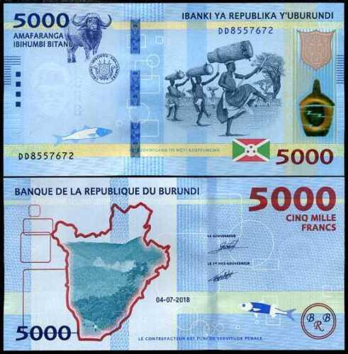 2019 P 53 NEW DATE UNC BURUNDI 5000 5,000 FRANCS 2018