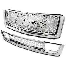 GMC 2007-13 SIERRA 1500 DENALI UPPER+LOWER BUMPER MESH GRILLE 2PCS COMBO CHROME
