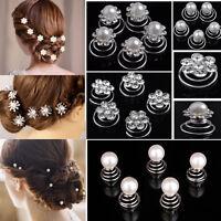 12x Beautiful Wedding Crystal Women Hair Twists Swirls Pins Spirals Pearl Flower