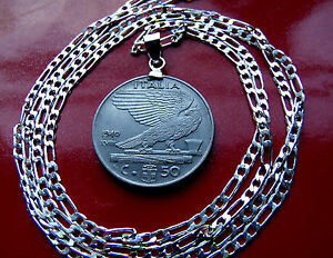 """SCARCE ITALIAN EAGLE Heritage Coin PENDANT ON A 20"""" .925 STERLING Silver Chain"""