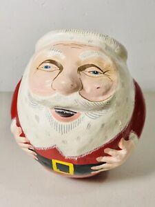 Santa Claus Balancing Egg Figure Folk Art Hand Painted Face RARE Vintage Wobble