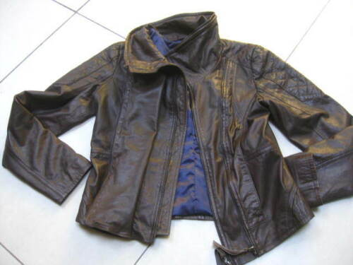 12 Brown Ladies Biker Jacket Coat Bomber Lining Blue Next Uk Size Leather Real Z1B58Fq5