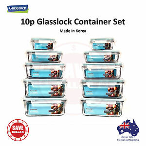 Glasslock-10p-set-Tempered-Glass-Food-Container-Storage-Microwave-Safe-BPA-FREE