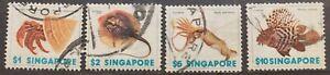 Singapore-definitive-marine-life-4v-1977-used-F45