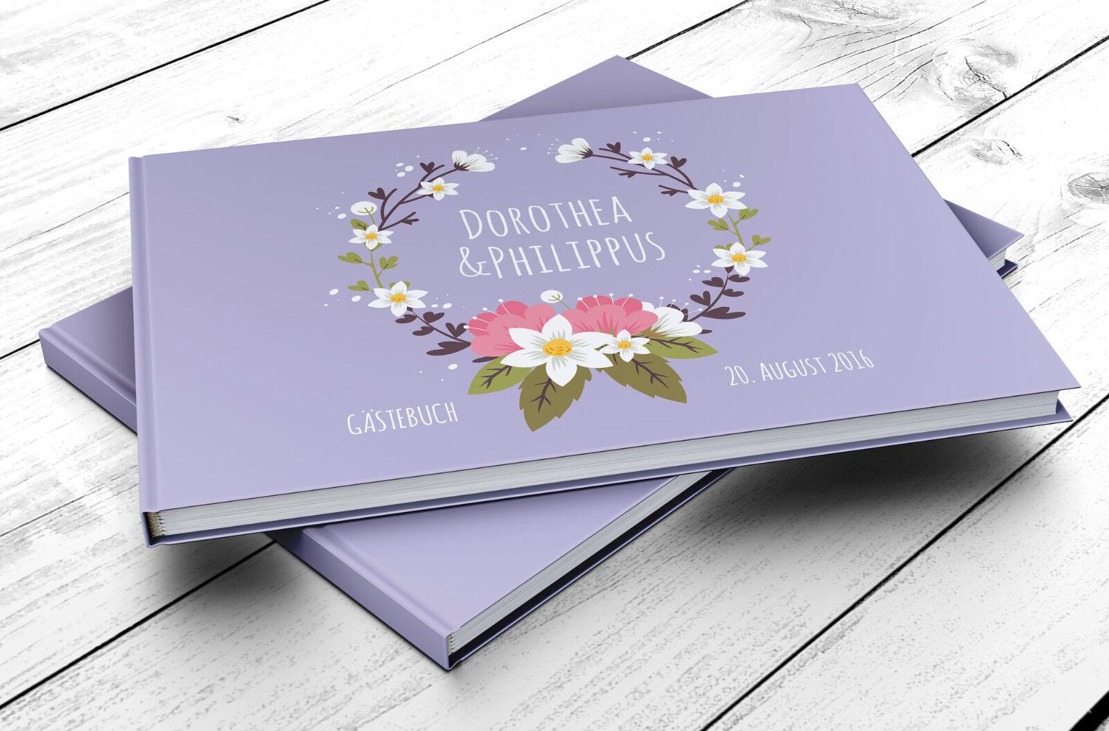 Gästebuch Hochzeit PERSONALISIERT Vintage Flower Pastel-Flieder, Foto, Geschenk