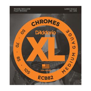 Agressif D'addario Chrome Flatwound 50-105 Long Scale Medium Bass Strings Ecb82-afficher Le Titre D'origine éConomisez 50-70%