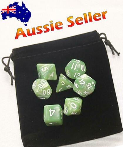 Dice 7 Piece set D /& D Pale Green Pearl Polyhedral Dice RPG Dungeons /& Dragons