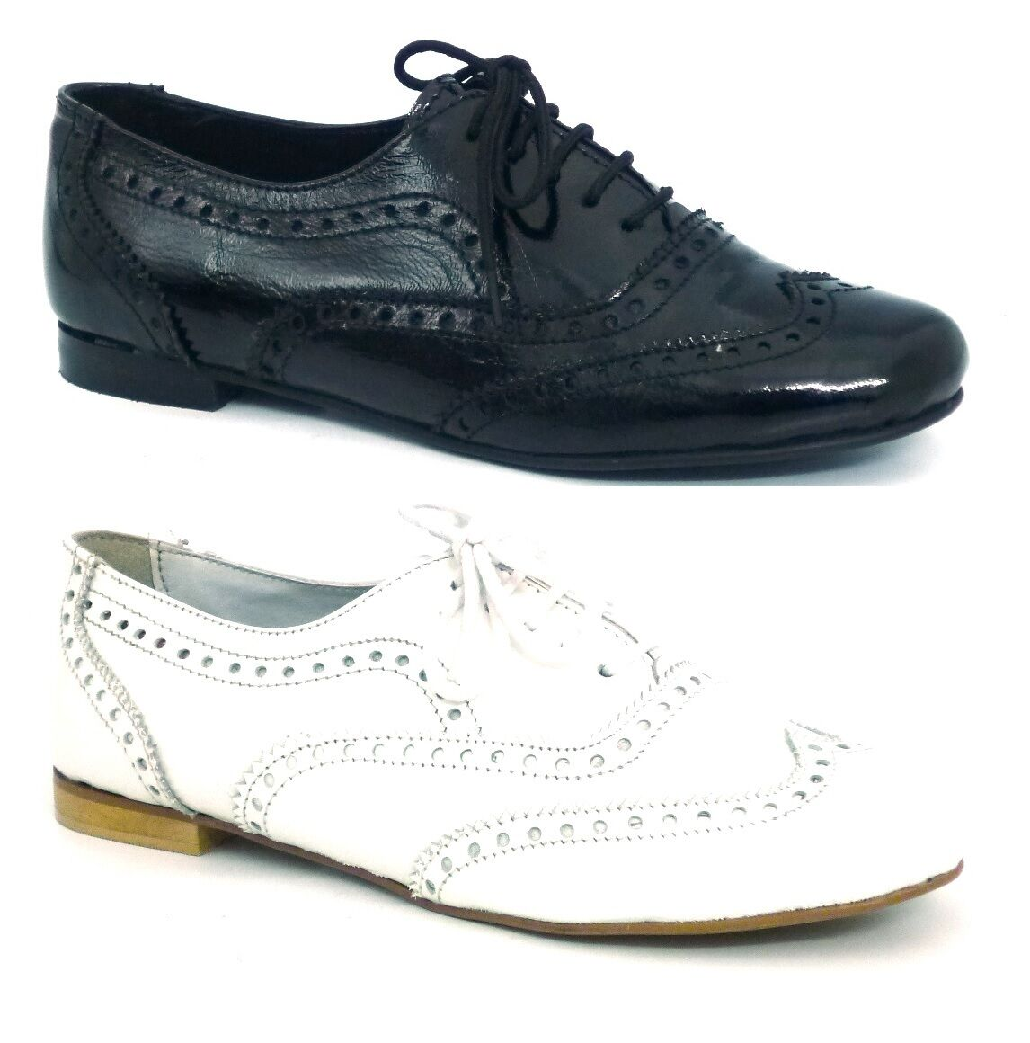 LADIES WOMENS REAL LEATHER BROGUE PATENT FLAT LACE UP PUMPS SHOES LOAFERS SIZE