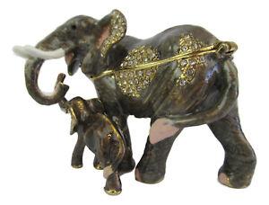 Elephant-amp-Calf-Diamante-Decorated-Jewelled-Trinket-Box