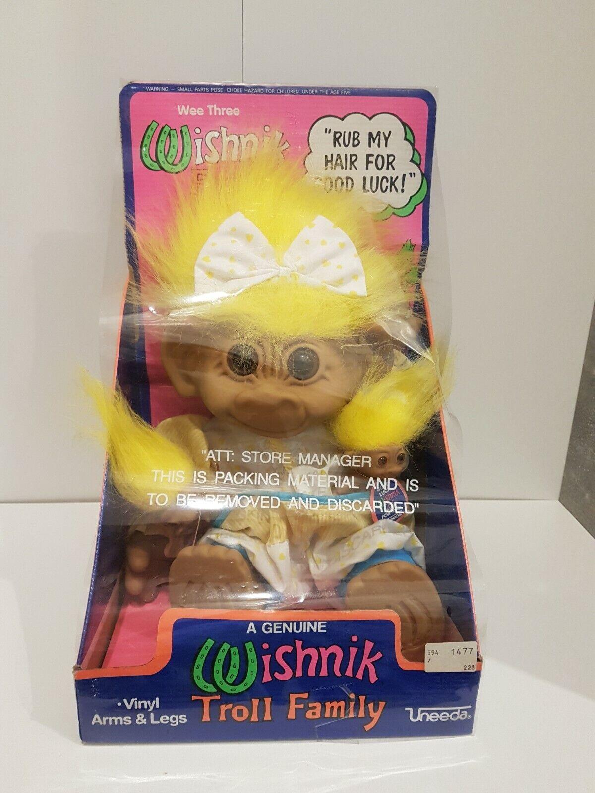 A genuine wishnik troll Family con i  capelli gituttii-Uneeda TROLLS NUOVO OVP VINTAGE  comodamente