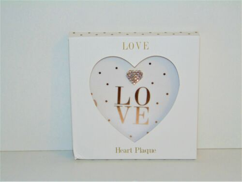 """Mad Dots Heart Plaque /""""LOVE/"""" White and Gold"""