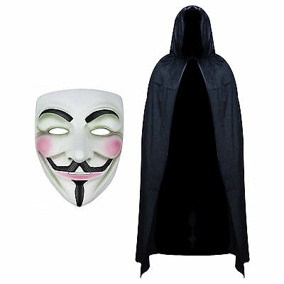 Vendetta Mask & Hooded Cape Fancy Dress Set