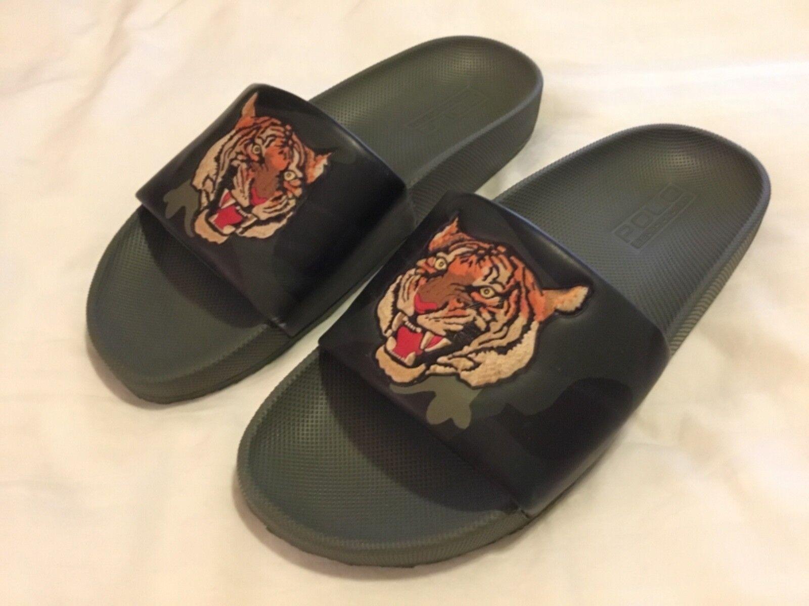Nuevo Sandalias de Hombre Ralph Lauren Polo con Estampado de Tigre en relieve, 9D