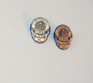 2 Mini Plastic Los Angeles Police Post 381 Badge Shield Hat Lapel Pin Back New