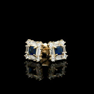 1-00CT-Round-Sapphire-Baguette-Diamond-Studs-Earrings-14K-Yellow-Gold-Finish